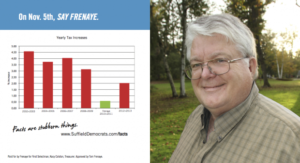 Mailer to highlight the lowest tax increase in the past 14 years occurred during Frenaye's first administration.